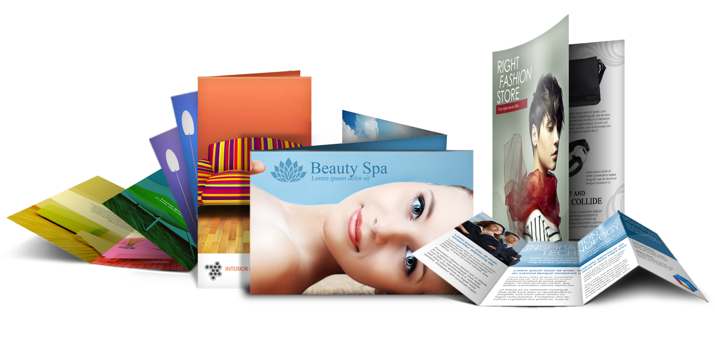 A set of promotional, creative graphic printed trifold and bifold brochures that can used for promoting a business or service.
