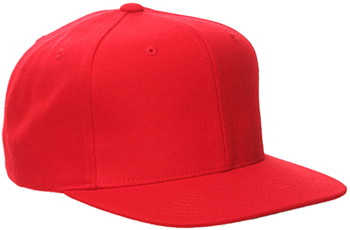 A red snapback, flatbill cap that can be used embroidery or heat transfer to promote or advertise a business.