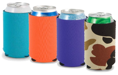 A line of promotional koozies in different colors that can be made into promo items to market a business, event or service with a logo or information.
