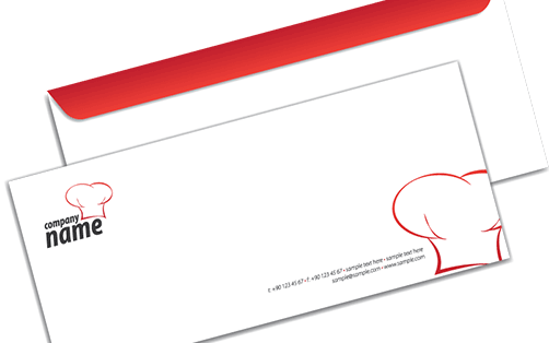 A promotional, creative graphic printed envelope with logo that can used for promoting a business or service.