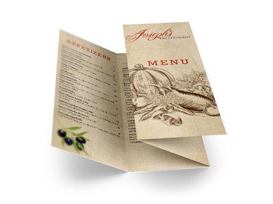A promotional, creative graphic printed tri-fold menu that can used for promoting a business, restaurant or service.