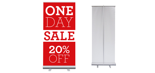 A promotional, creative graphic printed red retractable banner that can used for promoting a business or service.
