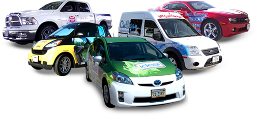 A fleet of work vehicles that have impressive, eye-catching wraps that promote their business or service.